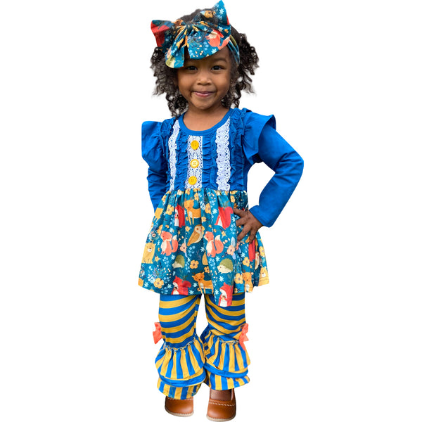 Baby Toddler Little Girls Fall Forest Friends Ruffle Tunic Pant Set w/ Free Headband - Teal/Mustard