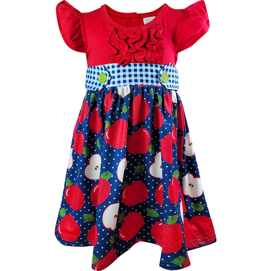 Toddler Little Girls Back To School Apple Ruffles Dress - Red/Navy Dots