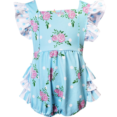 Image of Baby Infant Toddler Girls Spring Summer Roses Garden Bubbles - Light Blue + headband