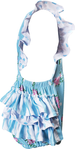 Baby Infant Toddler Girls Spring Summer Roses Garden Bubbles - Light Blue + headband