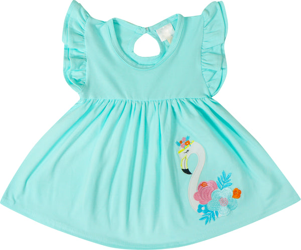 Baby Toddler Little Girls Summer Flamingo Tunic Top Capri Leggings Set with free Headband - Aqua Coral