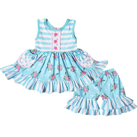 Image of Baby Toddler Little Girls Spring Roses Ruffles Dress Capri Pants Set