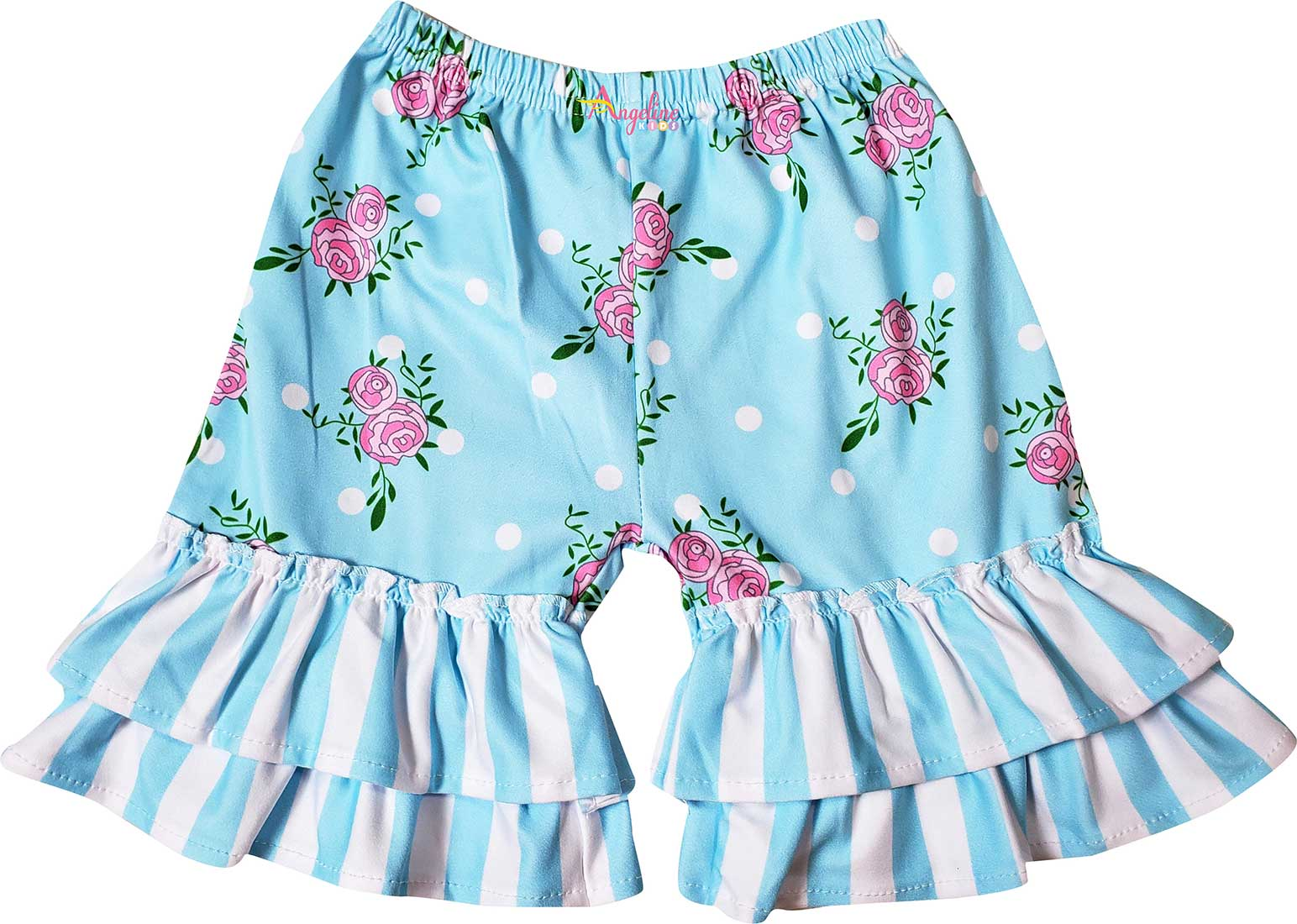 Baby Toddler Little Girls Spring Roses Ruffles Dress Capri Pants Set