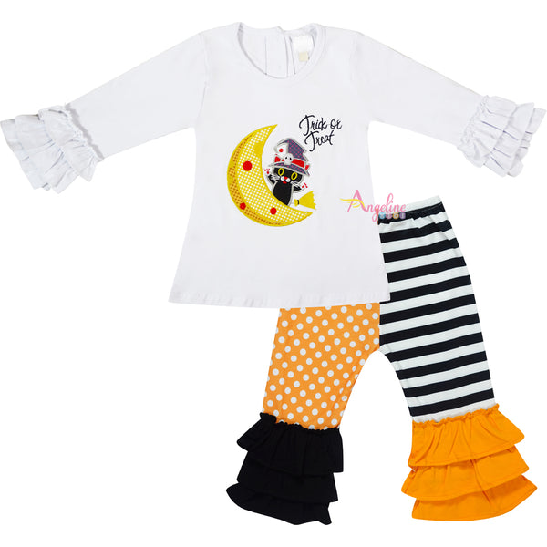 Baby Toddler Little Girls Halloween Cat On Moon Ruffle Top Pants Set - White Dots/Stripes