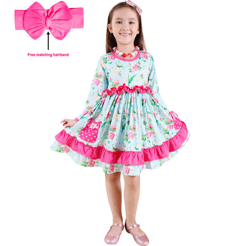 Image of Toddler Little Girls Spring Easter Rose Floral Twirl Dress + Free hairband - Pink Mint