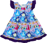 Baby Toddler Little Girls Fairy Tale Disney Princess Inspired Cinderella Ruffle Bow Dress - Purple