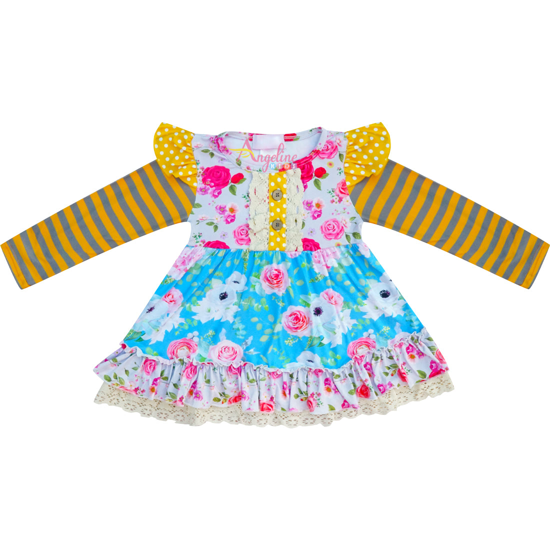 Baby Toddler Little Girls Fall Floral Ruffle Top Leggings Set - Mustard/Gray