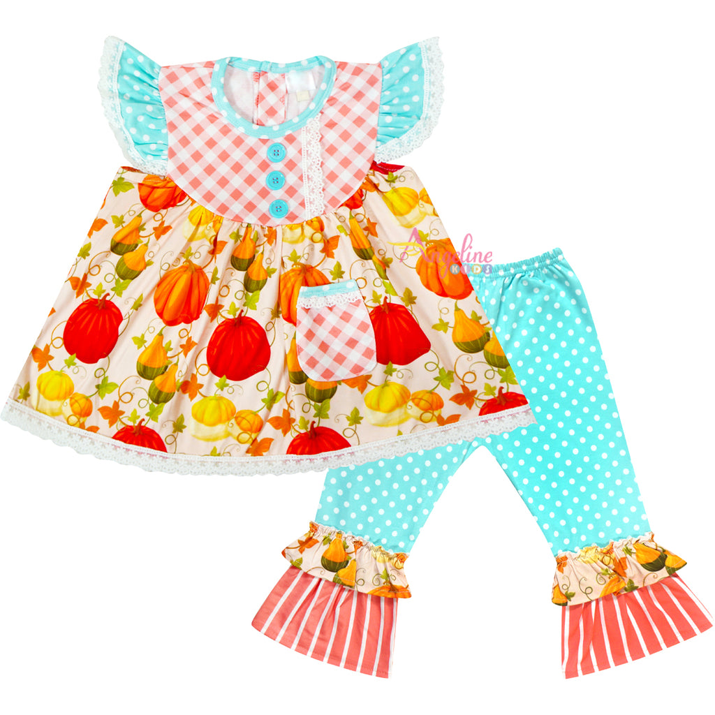 Baby Toddler Little Girl Pumpkin Patch Pocket Tunic & Polka Dot Pants Outfit Set - Aqua/Coral