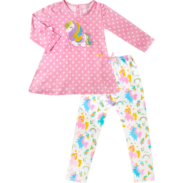 Baby Toddler Little Girls Unicorn Polka Dot Tunic Pants Set - Pink