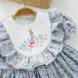 Baby Toddler Little Girls Spring Easter Vintage Classic Bunny Dresses - 100% Woven Cotton Timeless Styles