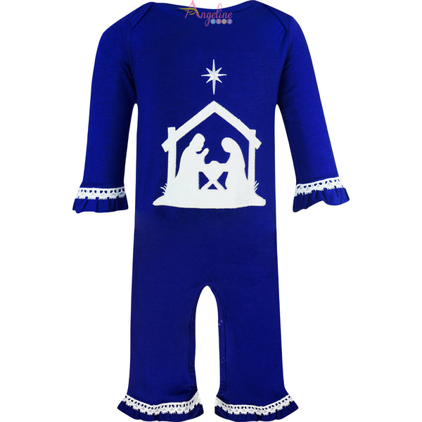 Baby Toddler Girls Christmas Holy Night Nativity Scene Ruffle Romper One-Piece