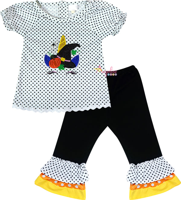 Baby Toddler Little Girls Halloween Unicorn Witch Hat Ruffle Top Pants Set - White Dots/Black