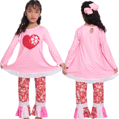 Image of Baby Toddler Little Girls Valentines Day Cherry Blossom Heart Polka Dot Pant Set