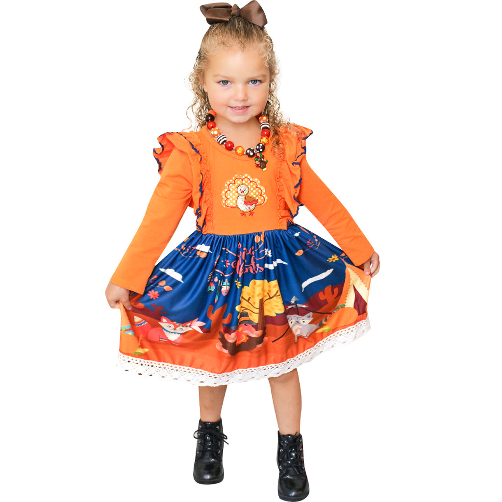 Baby Toddler Little Girls Thanksgiving Turkey Tie Back Dress With Headband ( Free Bloomers for baby sizes )