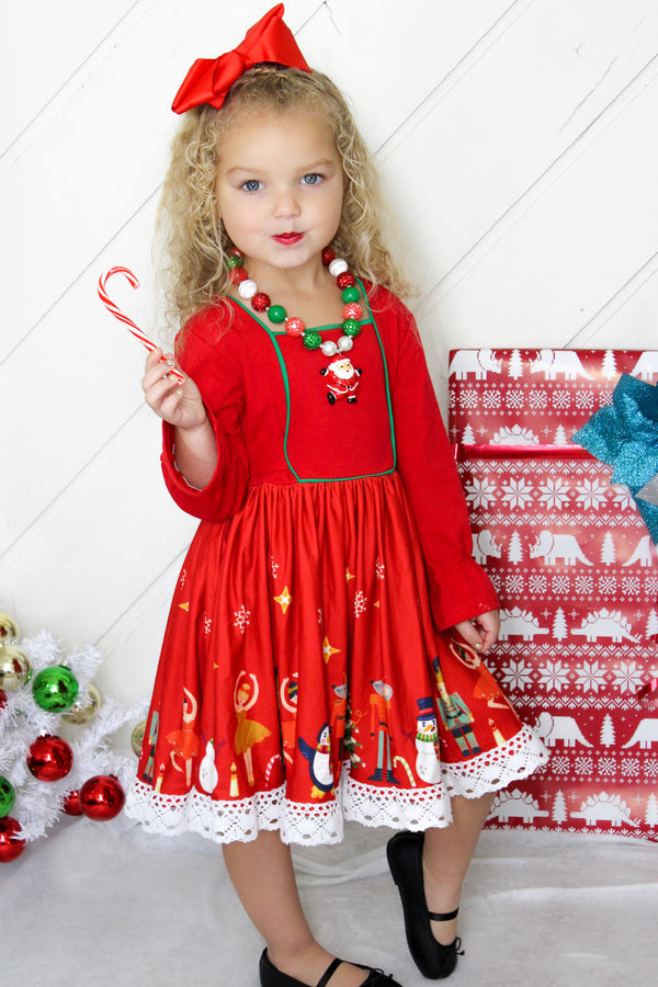 Girls Christmas Holiday Nutcracker Ballet Soldier Dress - Red/Red (Free Bloomers For Baby Sizes)