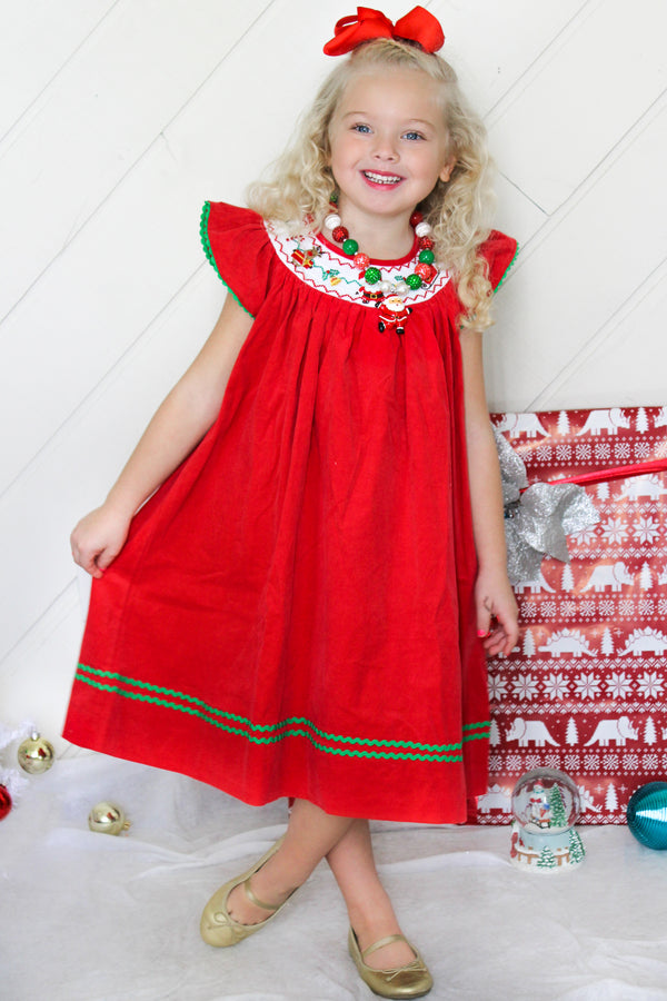 Girls Merry Christmas Holiday Faux-Smocked Santa Reindeer Corduroy Red Bishop Dress