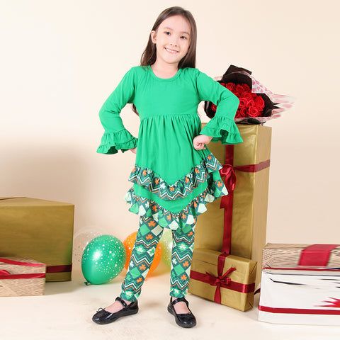 Image of Baby Toddler Little Girl St Patricks Day Shamrock Clover Scarf Outfit - ZigZag/Green