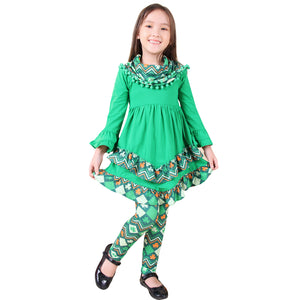 Baby Toddler Little Girl St Patricks Day Shamrock Clover Scarf Outfit - ZigZag/Green