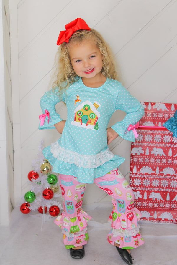 Baby Girls Merry Christmas Gingerbread House Ruffle Top Pants Set - Mint Pink