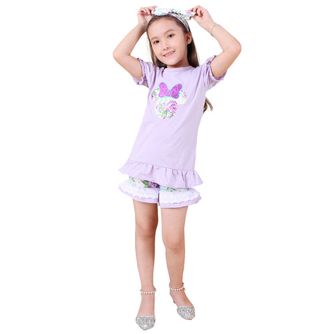 Image of Baby Toddler Little Girls Disney Inspired Minnie Mouse Head Top Shorts Set - Lavender