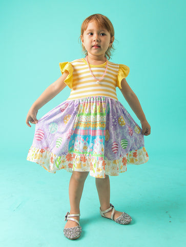 Image of Baby Toddler Little Girls Easter Bunny Dress - Yello Stripes