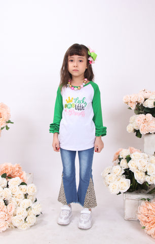 Toddler Little Girl St Patrick Lucky Little Princess Ruffles Top Denim Set