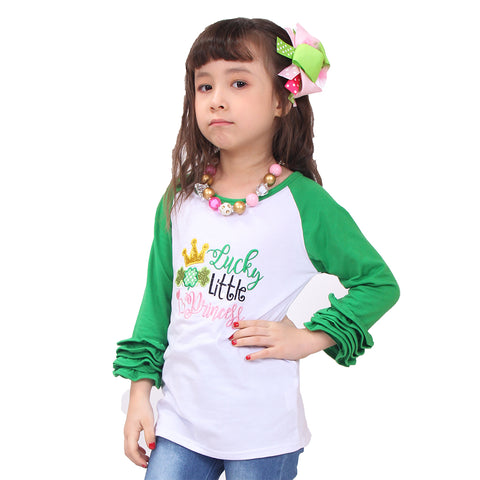 Image of Toddler Little Girl St Patrick Lucky Little Princess Ruffles Top