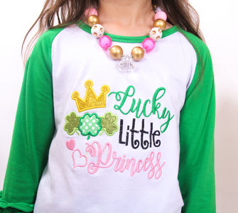 Toddler Little Girl St Patrick Lucky Little Princess Ruffles Top