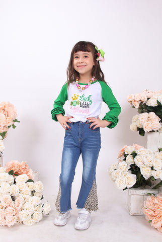 Image of Toddler Little Girl St Patrick Lucky Little Princess Ruffles Top Denim Set