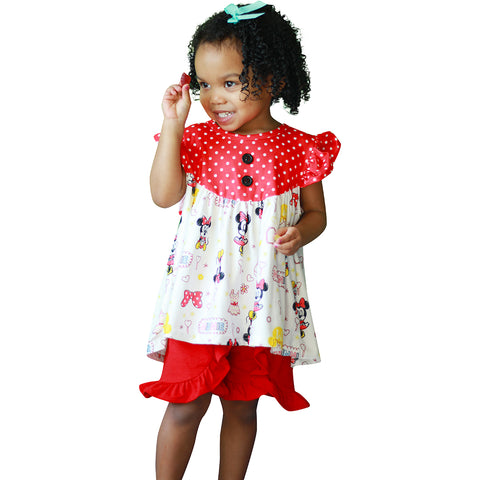 Image of Baby Toddler Little Girls Disney Inspired Minnie Mouse Ruffles Short Set - White/Red