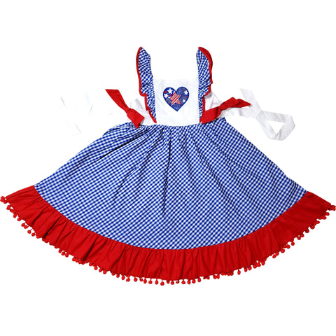 Image of Baby Toddler Little Girls 4th of July Patriotic I Heart America Pom Pom Dress