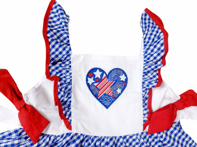Baby Toddler Little Girls 4th of July Patriotic I Heart America Pom Pom Dress