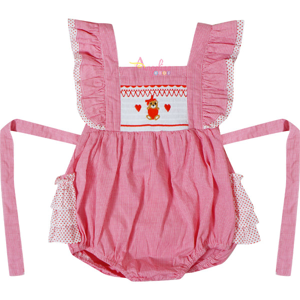 Baby Girls Valentines Day Love Teddy Bear Faux-Smocked Ruffle Bubble Red Gingham