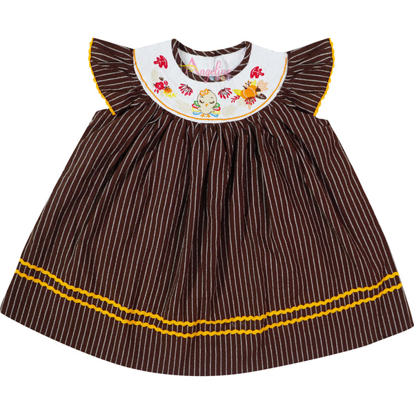 Baby Toddler Little Girl Thanksgiving Turkey Embroidery Bishop Dress - Brown Stripes