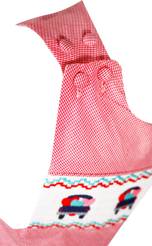Baby Infant Toddler Boys Valentines Day Love Hearts Truck One-Piece Longall - Red Gingham