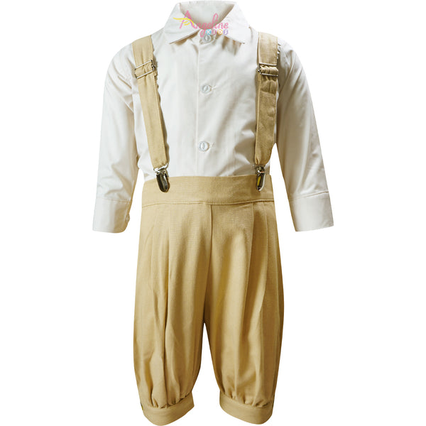Boys Little Gentleman Ring Bearer Vintage Knicker Suit Suspender Bowtie Hat Knickerbocker Outfit Beige/Khakhi