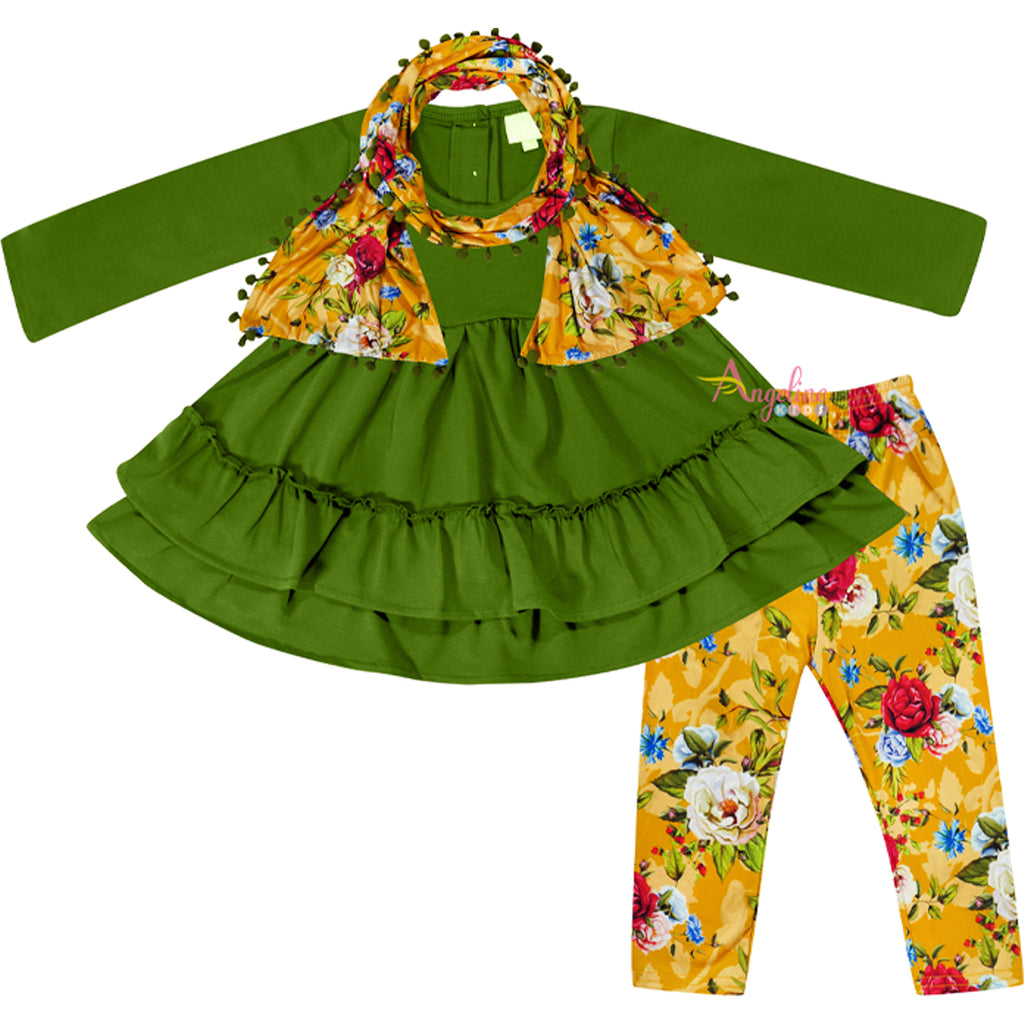 Baby Toddler Little Girls Fall Harvest Floral Scarf Outfit - Mustard Green