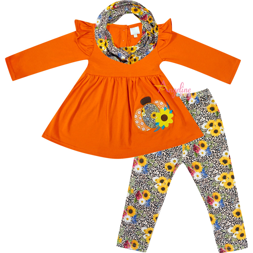 Baby Toddler Little Girls Fall Sunflower Cheetah Pumpkin Scarf Outfit - Tangerine Orange