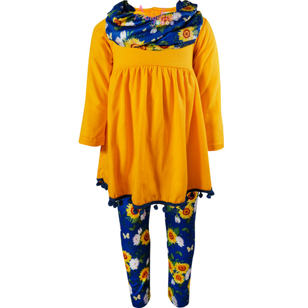 Baby Toddler Little Girls Fall Sunflower Scarf Outfit Set - Gold/Navy