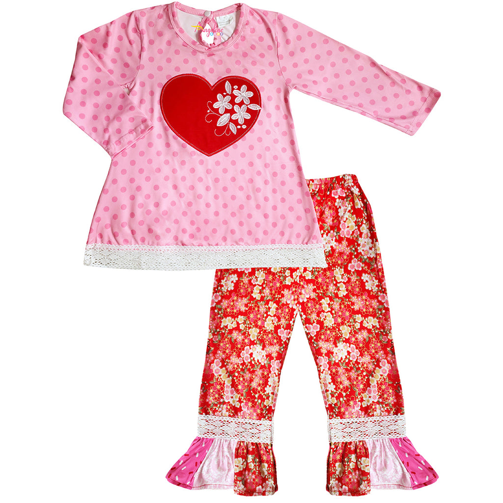 Baby Toddler Little Girls Valentines Day Cherry Blossom Heart Polka Dot Pant Set