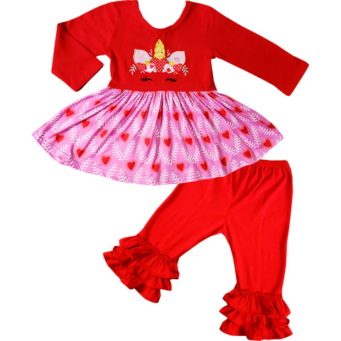 Image of Baby Toddler Little Girls Valentines Day Unicorn Dress Set