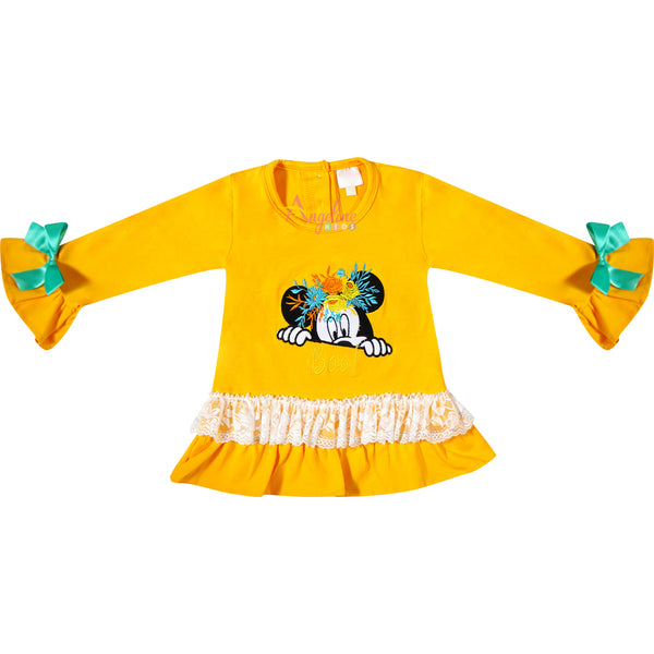 Baby Toddler Little Girl Disney Halloween Minnie Boo Ruffle Pant Set - Mustard/Turquoise