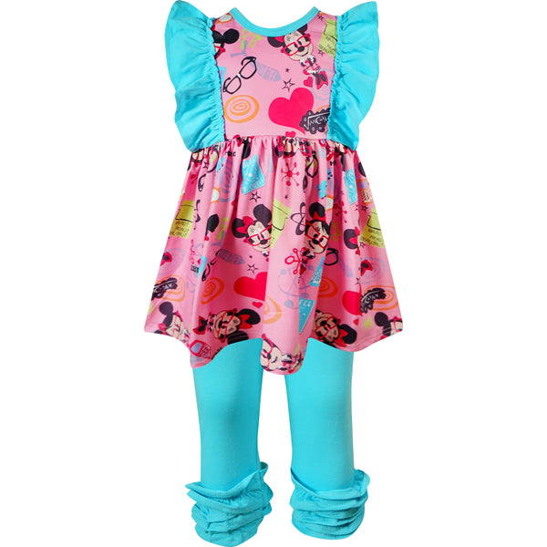 Baby Toddler Little Girls Minnie Mouse Love School Day Top Capri Leggings Outfit