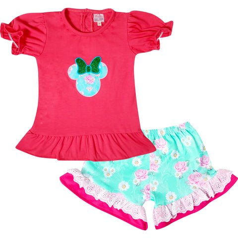 Image of Baby Toddler Little Girls Disney Inspired Minnie Mouse Head Top Shorts Set - Fuchsia Mint