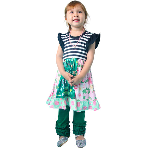Image of Baby Toddler Little Girl St. Patricks Day Twirl Dress Leggings Set - Black Stripes