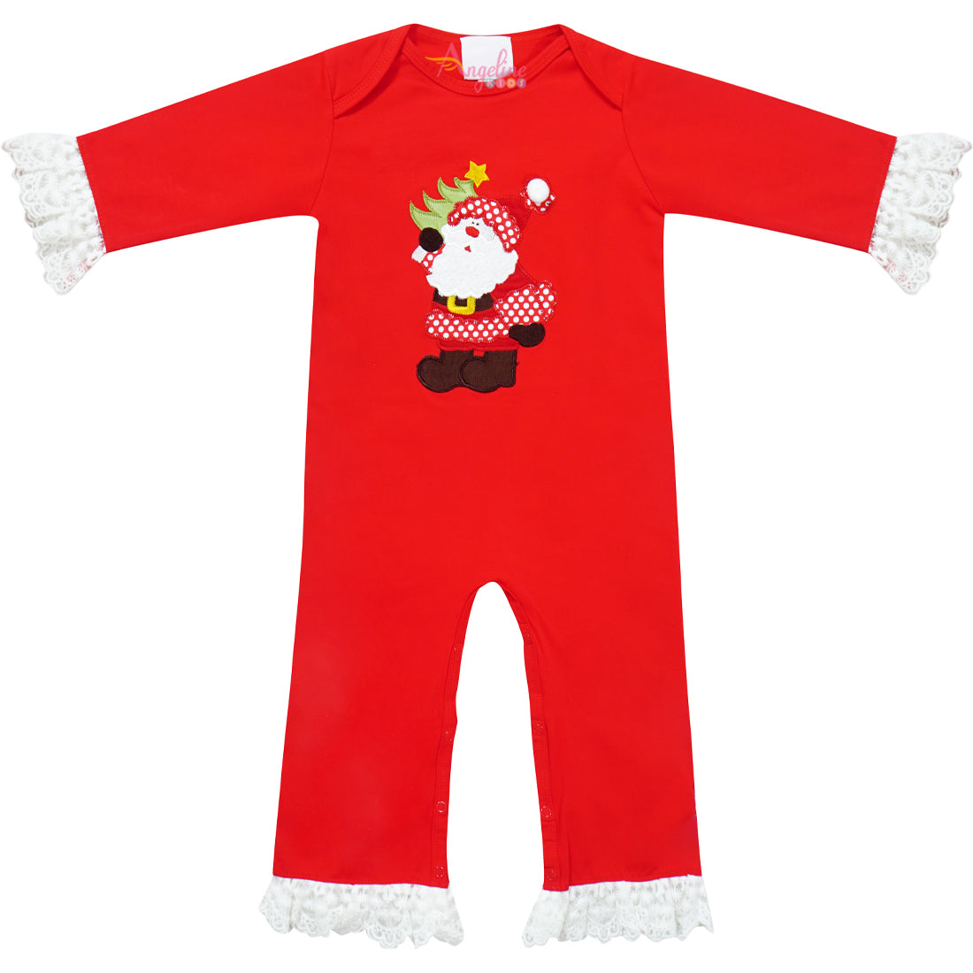 Baby Girl Christmas Santa Lace Red One - Piece Romper