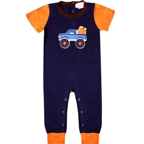 Image of Baby Boys Halloween Pumpkin Truck Romper - Orange Navy