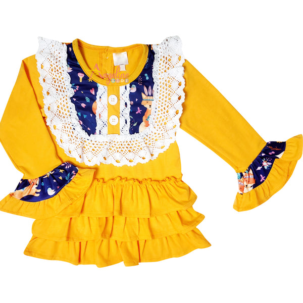 Baby Toddler Little Girl Fall Colors King Fox Ruffle Top Pants Set - Mustard/Navy