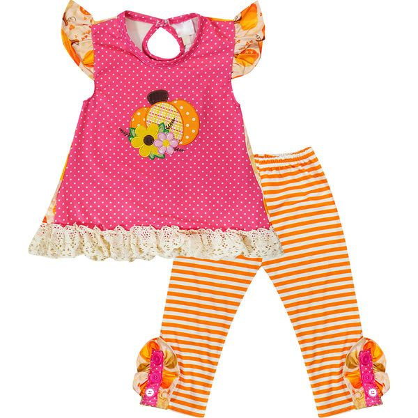 Baby Toddler Little Girl Pumpkin Patch Ruffle Pant Set - Pink Orange Stripes