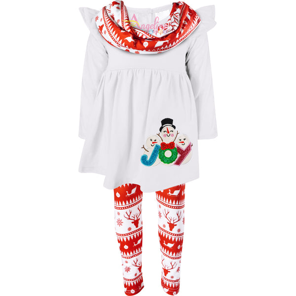 Girls Holiday White Christmas Joy Snowman Scarf Outfit Set - White/Red